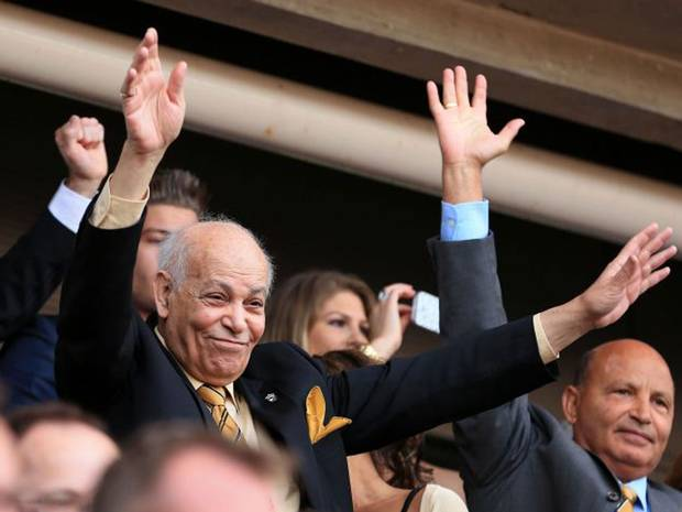 Assem Allam celebrating Hull's promotion to the Premier League.