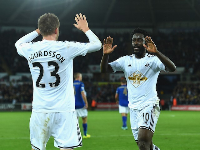 Wilfred Bony celebrates scoring against Leicester in October with teammate Gylfi Sigurdsson. Swansea have taken the January sale of Bony in their stride, while under Monk's tutelage Sigurdsson has emerged as one of the Premier League's top players.
