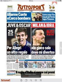 Front page of TuttoSport