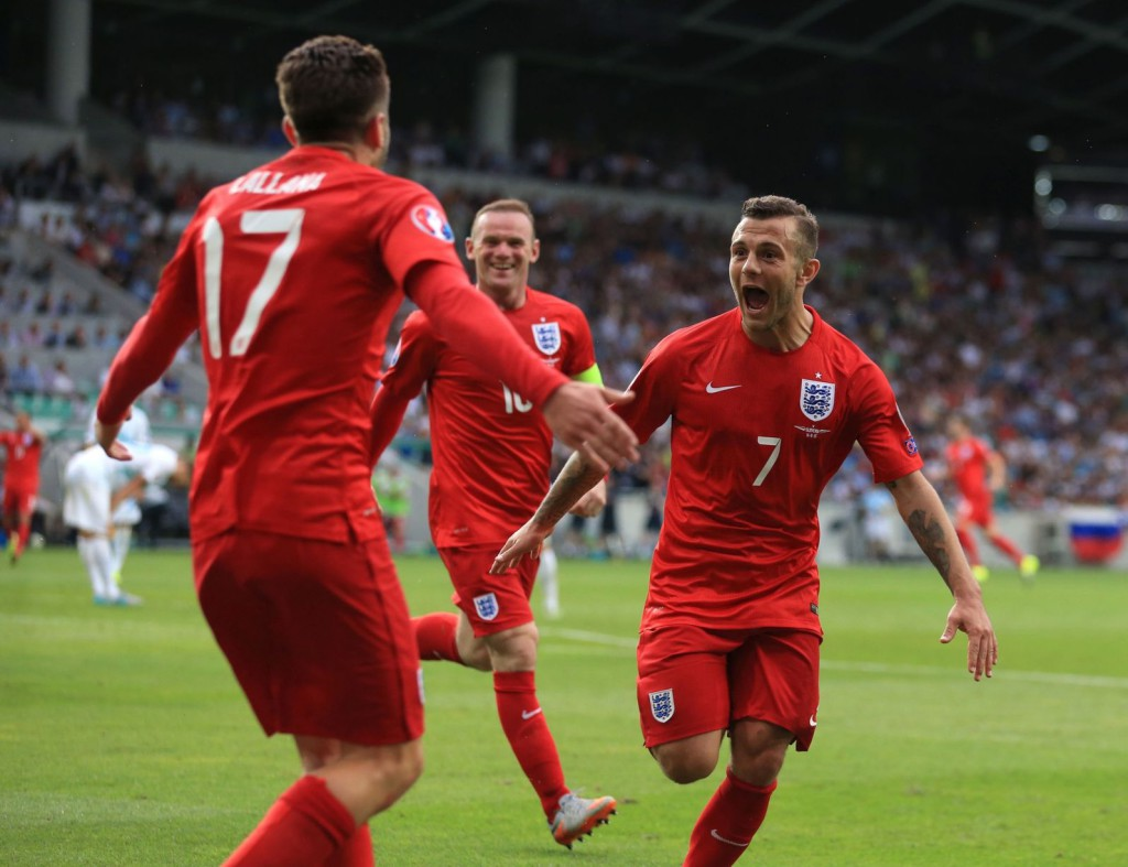 Jack Wilshere celebrates scoring his and England's second goal in yesterday's 3-2 victory over Slovenia.