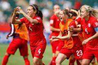 Farah Williams celebrates her penalty goal.