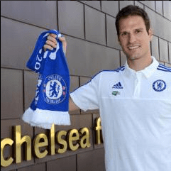 Begovic posing with a Chelsea scarf after completing his transfer