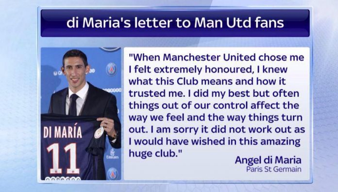 PSG Transfer: Di Maria says goodbye to Manchester United fans