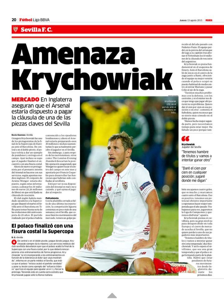 Sevilla Transfer: Krychowiak a priority target for Arsenal