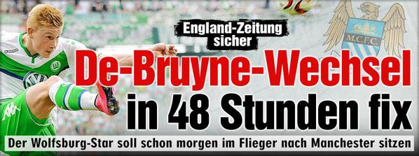 Kicker claims that De Bruyne will sign for Manchester City in 48 hours