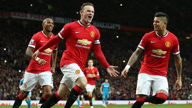 Rooney celebrating with team