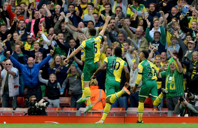Russell Martin of Norwich Celebrates