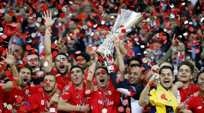 Sevilla winning their record fourth Europa League title in 2015.