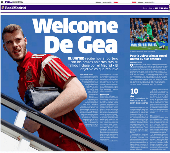 De Gea confident about winning the power struggle at Manchester United