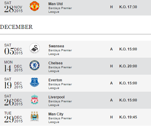Leicester City Fixtures Till The End of 2015