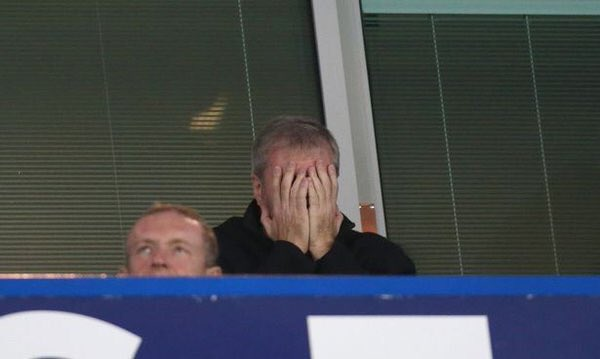 Owner Roman Abramovich reacts to the proceedings at Stamford Bridge