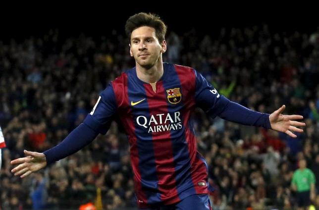 Barcelona's Lionel Messi celebrates a goal against Almeria during their Spanish first division soccer match at Camp Nou stadium in Barcelona April 8, 2015. REUTERS/Albert Gea