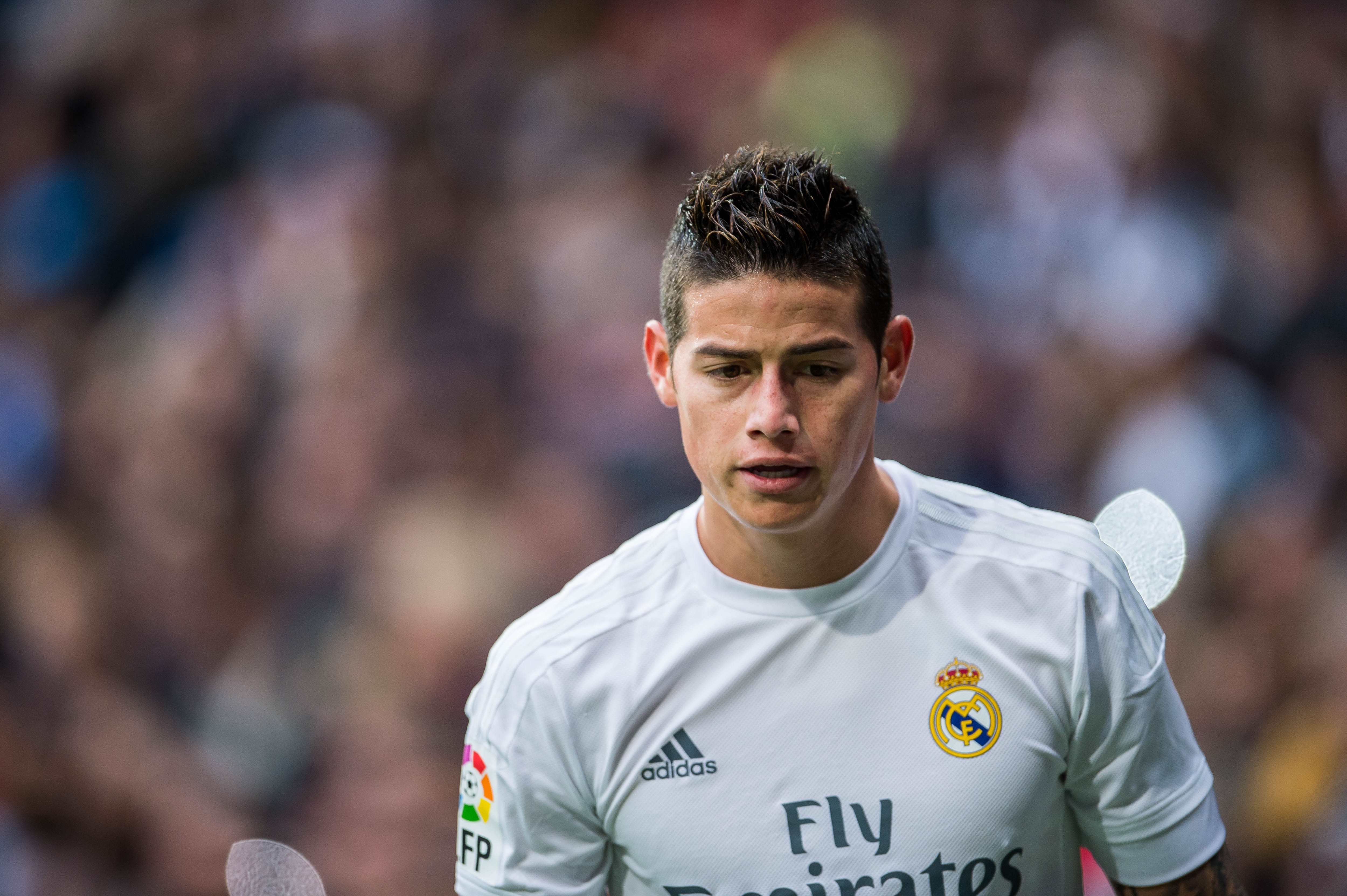 MADRID, SPAIN - DECEMBER 30:  James Rodriguez of Real Madrid CF looks on during the Real Madrid CF vs Real Sociedad as part of the Liga BBVA 2015-2016 at Estadio Santiago Bernabeu on December 30, 2015 in Madrid, Spain.  (Photo by Aitor Alcalde/Power Sport Images/Getty Images)