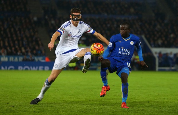 LEICESTER, ENGLAND - DECEMBER 14: Nemanja Matic of Chelsea and Ngolo Kante of Leicester City during the Barclays Premier League match between Leicester City and Chelsea at the King Power Stadium on December 14, 2015, in Leicester, England. (Photo by Catherine Ivill - AMA/Getty Images)