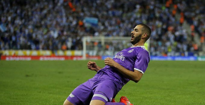 Karim Benzema scored his first goal of the season against Espanyol.