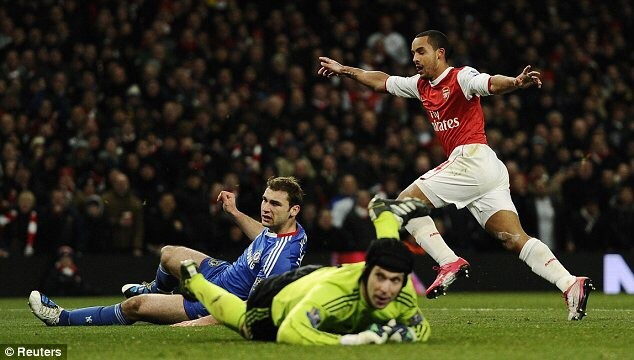 Theo Walcott celebrating after scoring against Chelsea in 2010