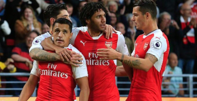 Arsenal players congratulate Alexis Sanchez after his second goal against Hull last Saturday