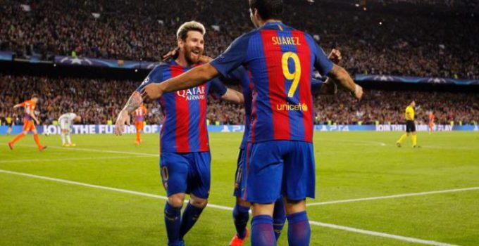 Barcelona celebrate scoring against Manchester City