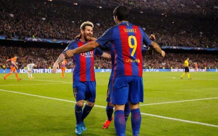 Barcelona celebrate scoring against Manchester City