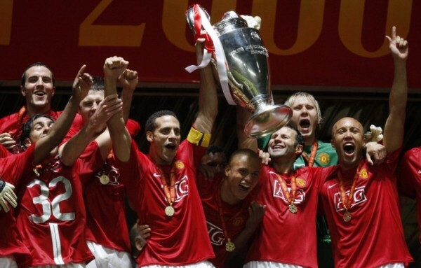 Rio Ferdinand lifting the Champions League in 2008.