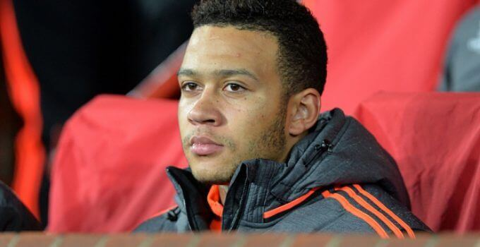 Manchester United's Memphis Depay on the substitutes bench before the UEFA Champions League match at Old Trafford, Manchester. PRESS ASSOCIATION Photo. Picture date: Tuesday November 3, 2015. See PA story SOCCER Man Utd. Photo credit should read: Martin Rickett/PA Wire