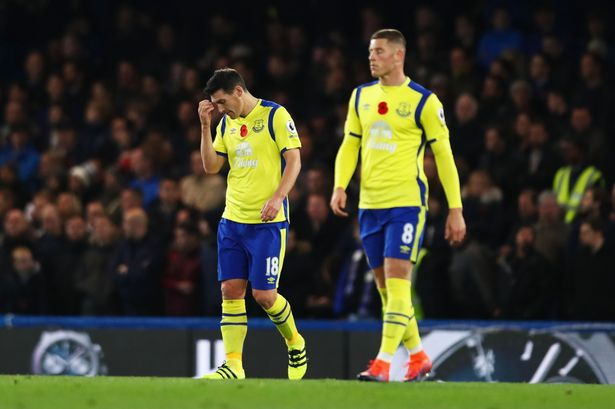 Ross Barkley and Gareth Barry look dejected during 5-0 defeat to Chelsea.