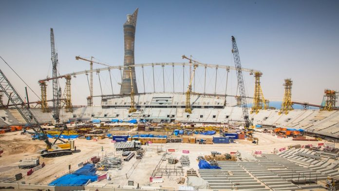 World Cup stadiums are under construction in Qatar.