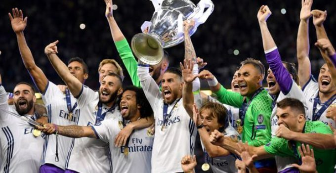 Real Madrid celebrate winning the 2017 Champions League