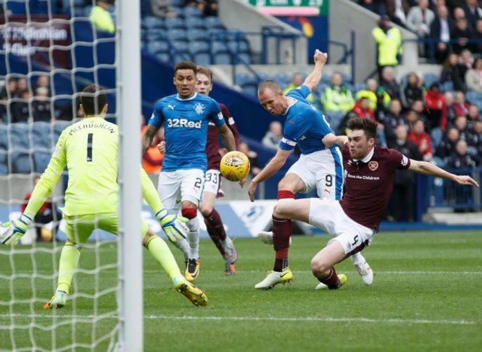 Kenny Miller scores for Rangers against Hearts in a 3-1 win.