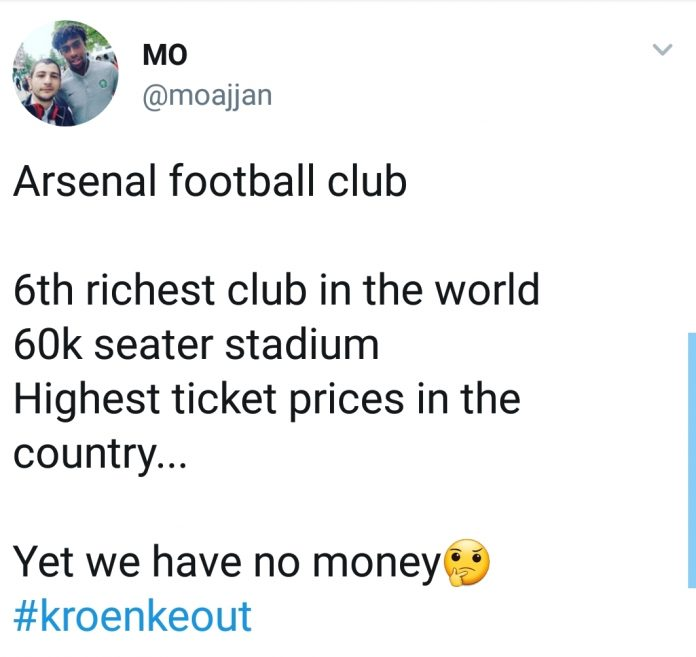 To Invest In New Additions During A Transfer Window Fans Are Frustrated With Many Taking Twitter Vent Their Anger The Hashtag Kroenkeout