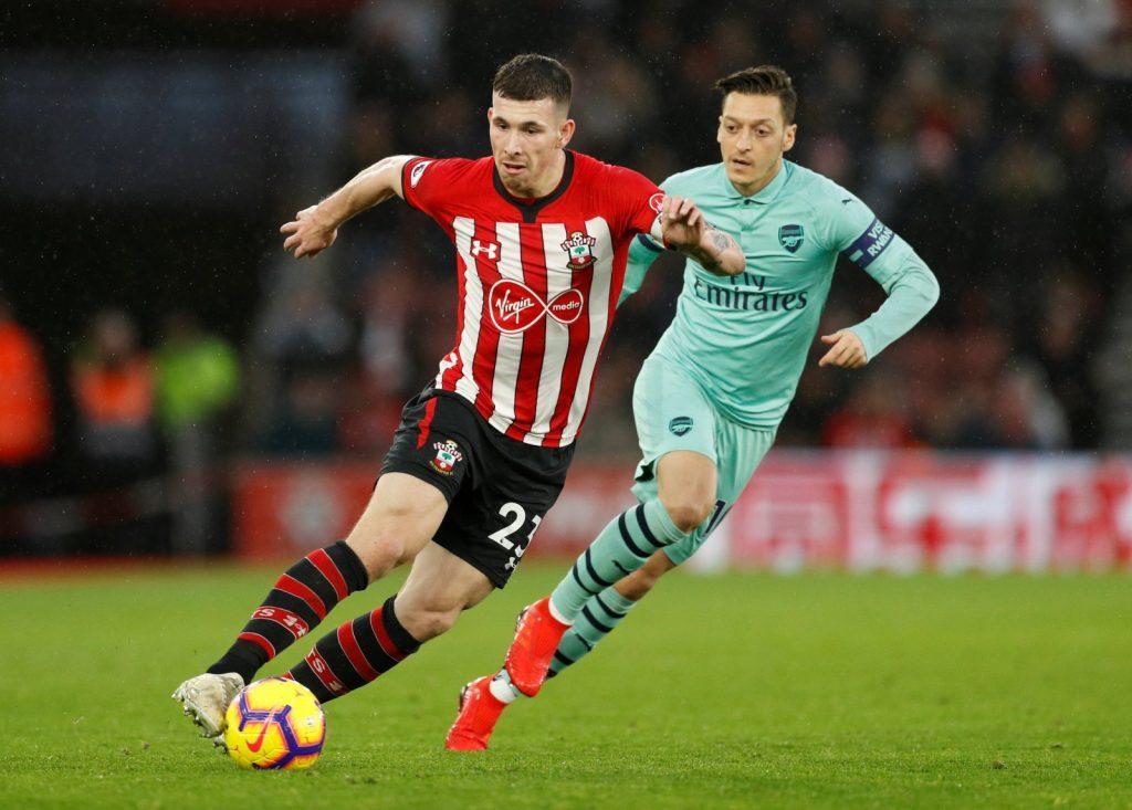 Peça importante no time titular do Southampton, o meia Hojbjerg é dúvida para o confronto contra o Watford. Jogador se lesionou contra o Arsenal na última rodada do Inglês  Foto: Sportslens