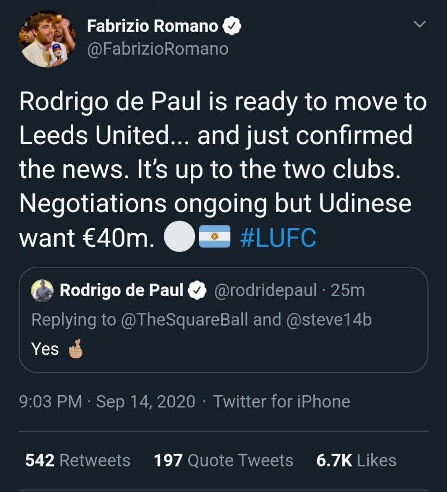 IMG 20200914 092003 - Rodrigo de Paul sends some Leeds fans into meltdown after dropping transfer hint