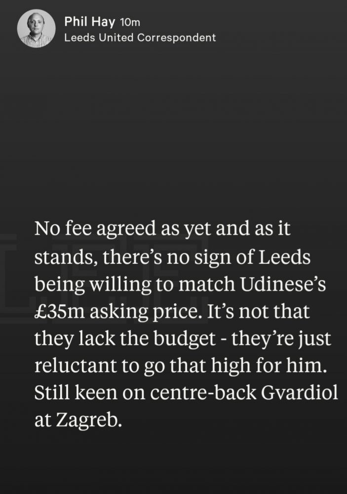 IMG 20200915 095658 - '£20m on a spare CB' - Phil Hay provides update on Leeds' defensive transfer plans