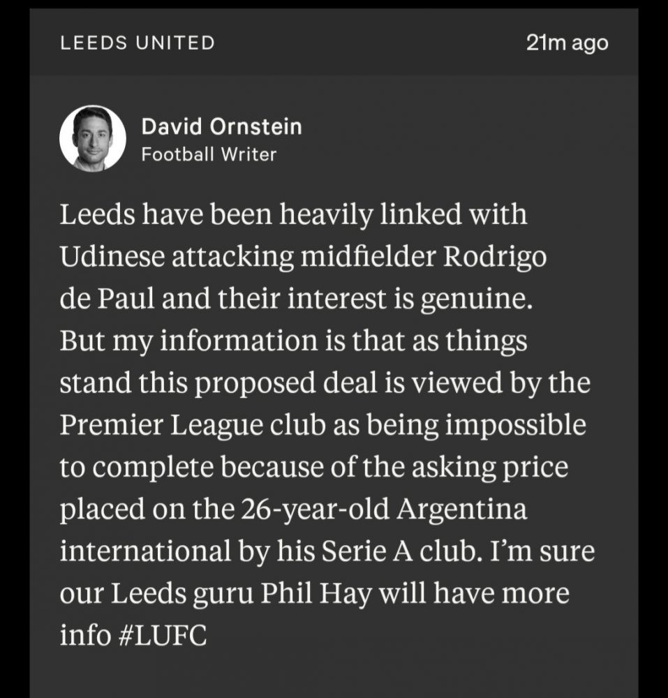 IMG 20200915 095716 - 'Impossible to complete' - David Ornstein delivers heartbreaking Leeds transfer update