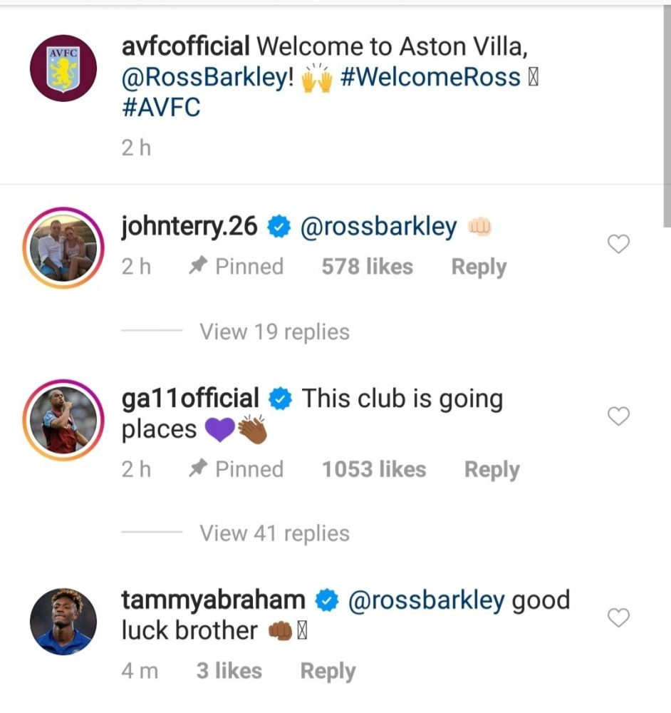 IMG 20200930 123834 - Tammy Abraham's three-word reaction as Ross Barkley joins Aston Villa