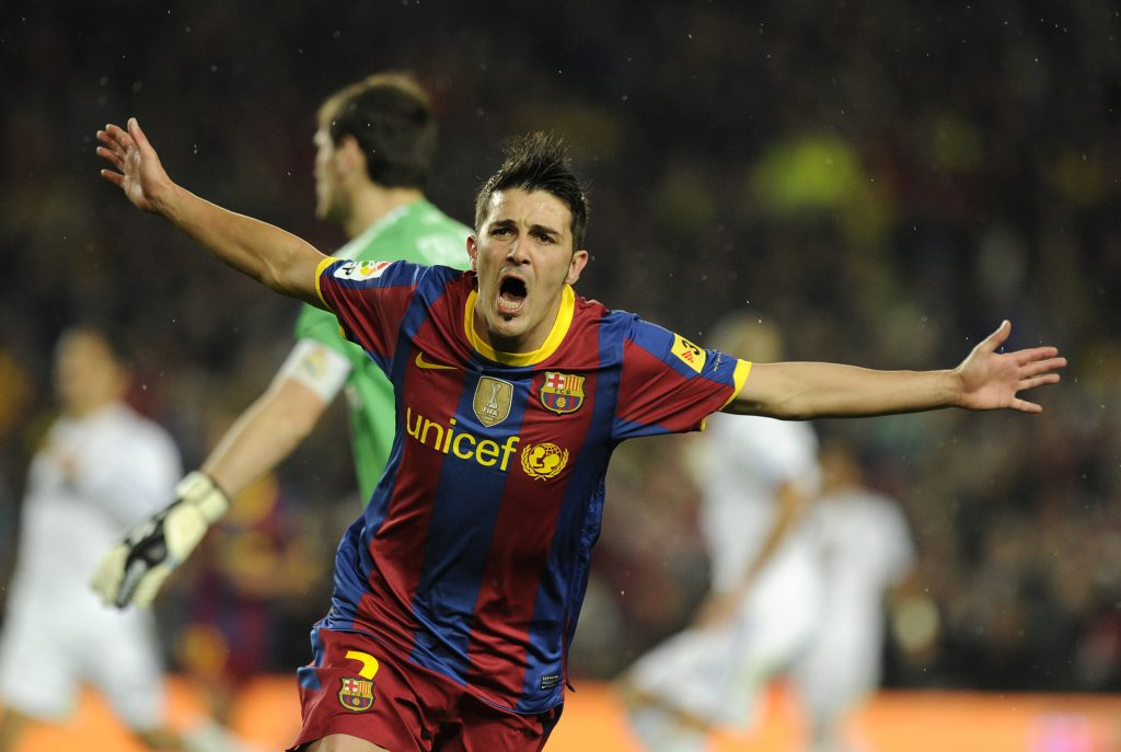 barcelonas forward david villa celebrat 1024x687 - Jose Mourinho v Pep Guardiola: the best meetings between the two