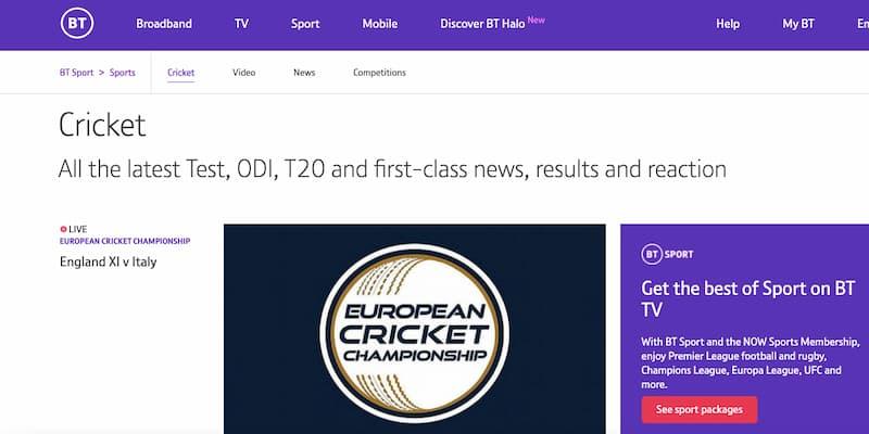 BT Sport cricket tv