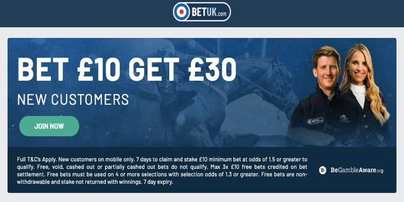BetUK free bet offer new customers