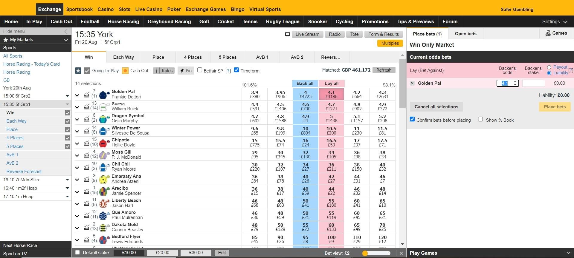 Betfair lay horse racing betting