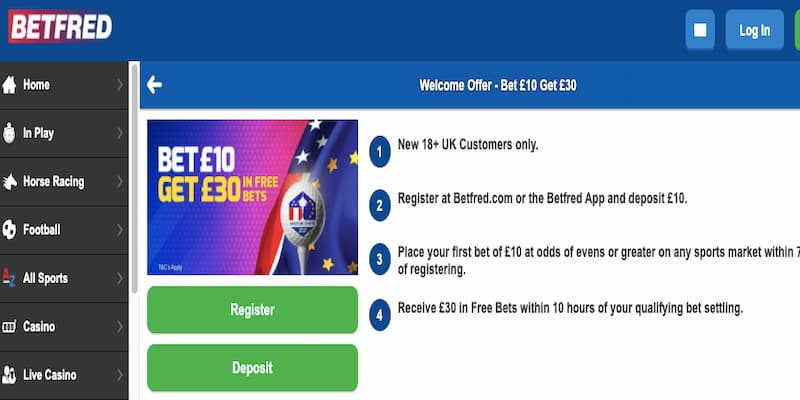 Betfred free bet offer