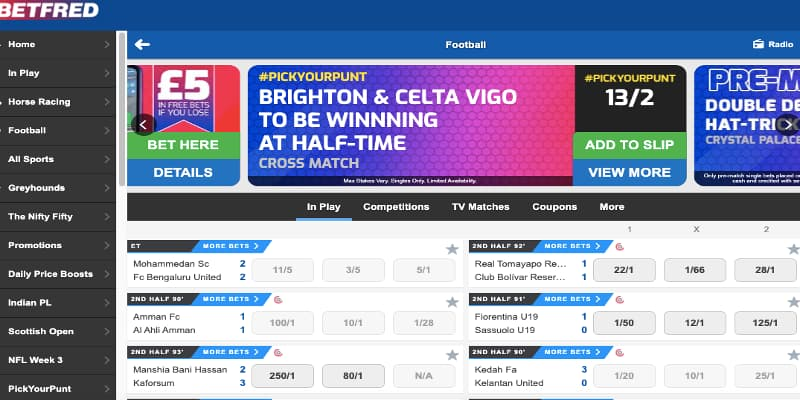 Betfred in play streaming
