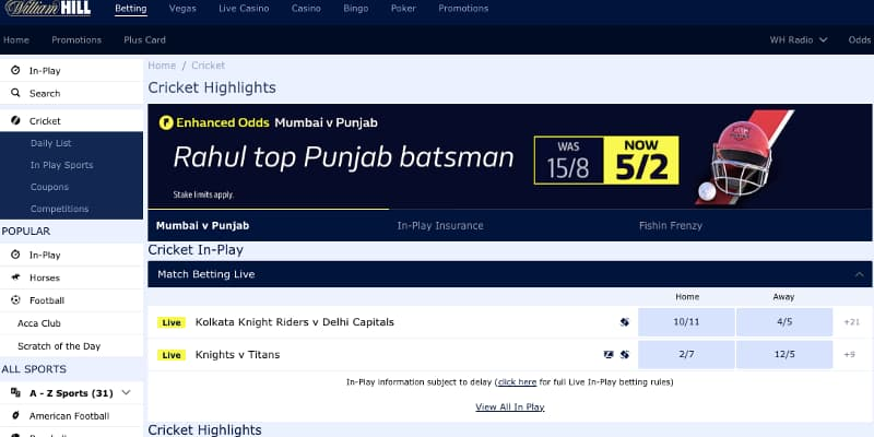 IPL William Hill cricket stream