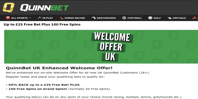 Quinn Bet welcome offer free spins