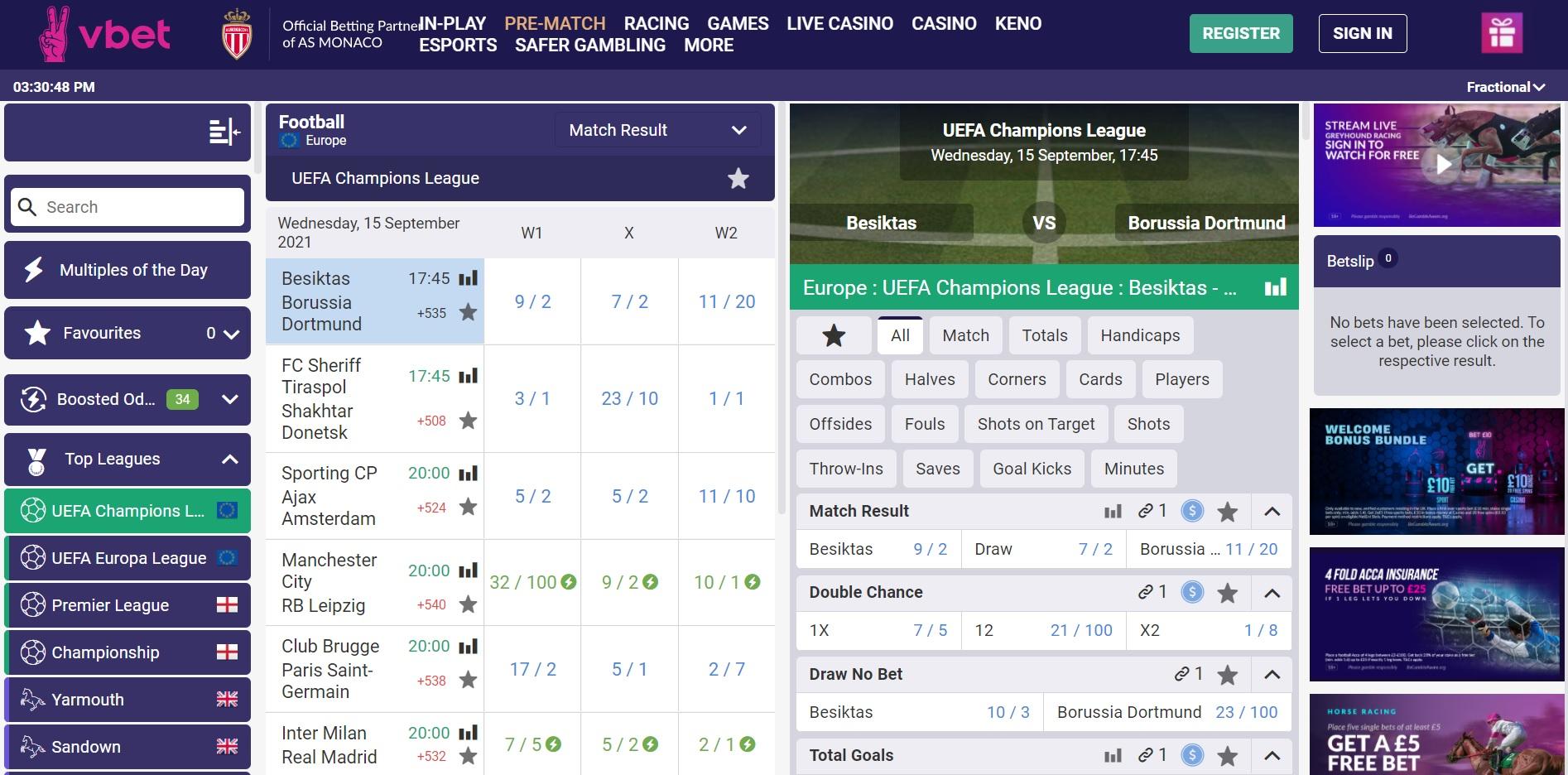 Best betting sites UK Vbet