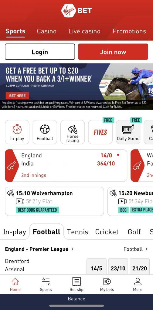 Virgin Bet app