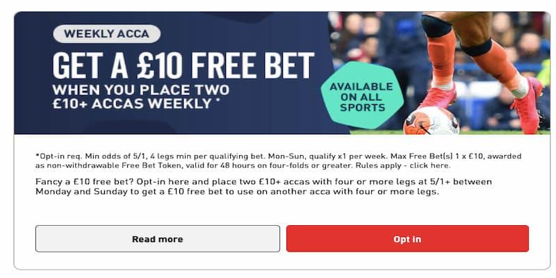 Virgin Bet weekly acca offer