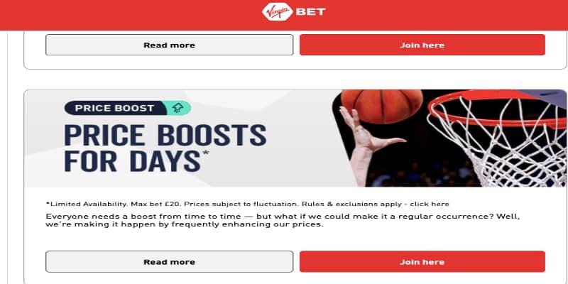 VirginBet price boosts promo