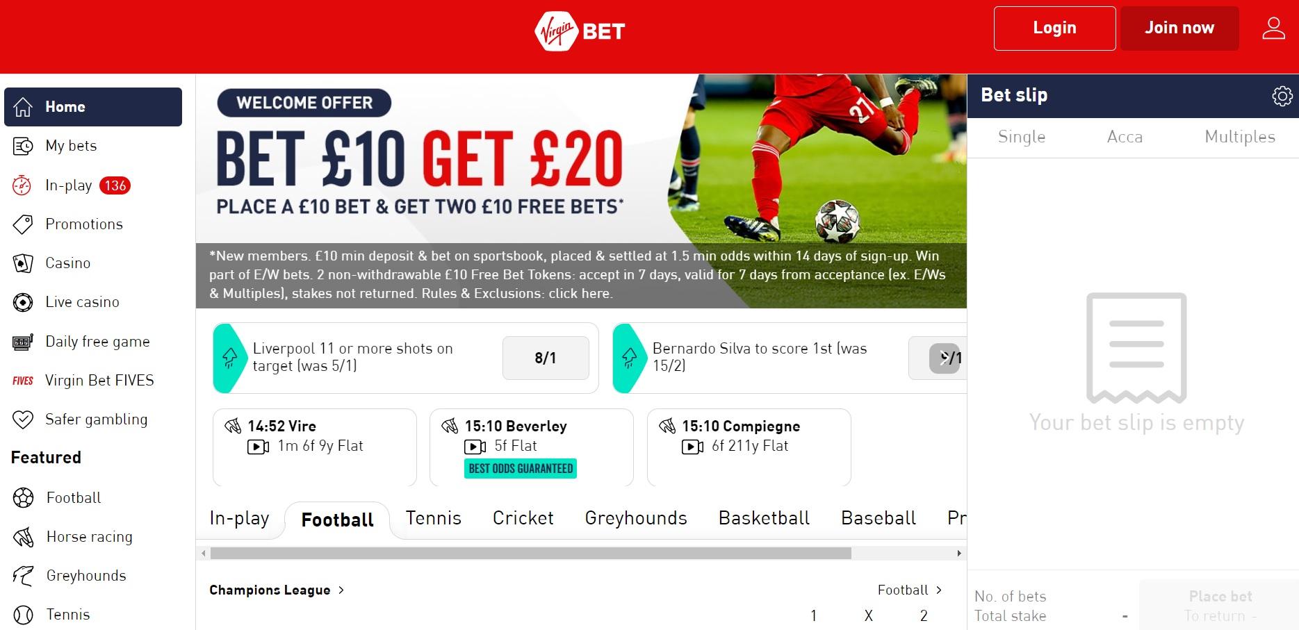 best betting sites UK Virgin Bet