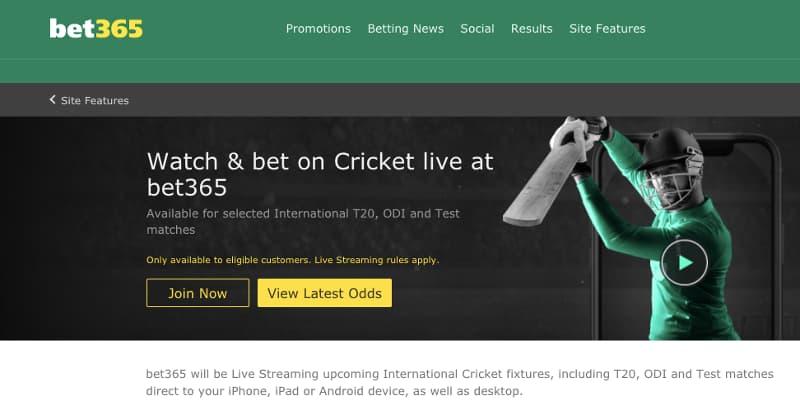 bet365 live cricket stream details