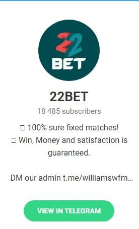22Bet betting tips telegram groups
